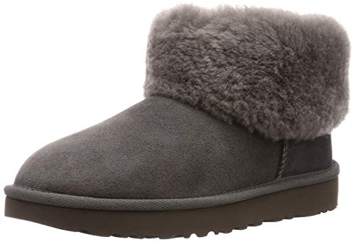 UGG Women's Classic Mini Fluff Ankle Boot, Charcoal, 7 M US