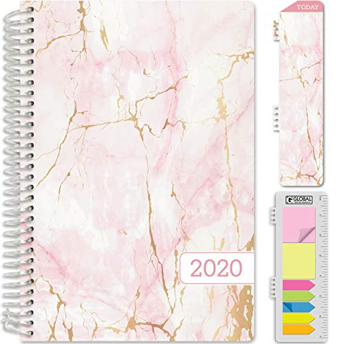 "HARDCOVER Calendar Year 2020 Planner: (November 2019 Through December 2020) 5.5""x8"" Daily Weekly Monthly Planner Yearly Agenda. Bonus Bookmark, Pocket Folder and Sticky Note Set (Pink Marble)"