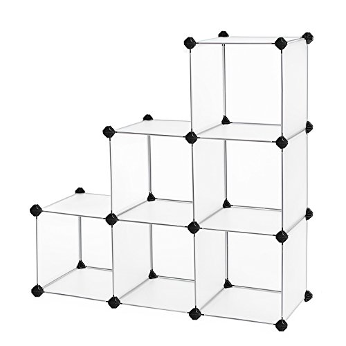 SONGMICS Cube Storage Organizer, 6-Cube Book Shelf, DIY Plastic Cabinet, Modular Bookcase, Storage Shelving for Bedroom, Living Room, Home Office, with Rubber Hammer White ULPC06W