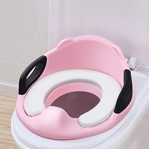 Potty Training Seat for Baby Kid Boy Girl Toddler,Toilet Training Seat with Handles for Kids with Cushion and Backrest Secure for Oval Round Toilet (Pink)