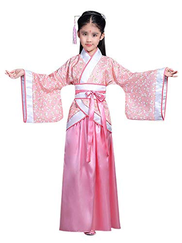 Lazutom Girls' Ancient Chinese Traditional Hanfu Dress Fancy Dress Christmas Party Dress (130:Recommended Height:125-130cm, Pink)
