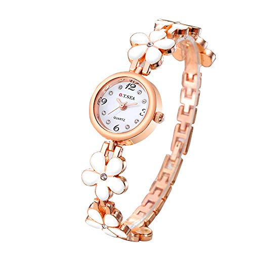 Luxury O.T.SEA Brand Rose Gold Flower Bracelet Watches Women Ladies Rhinestone Dress Quartz Wristwatches W029-white
