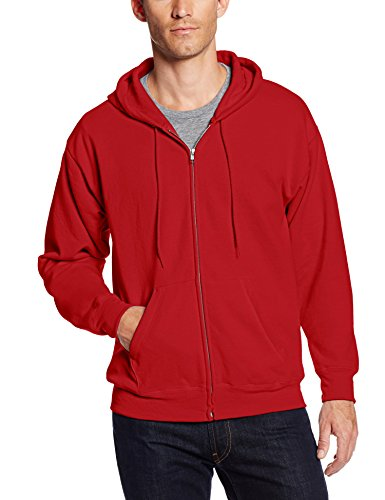 Hanes Men's Full Zip EcoSmart Fleece Hoodie, Deep Red, Medium