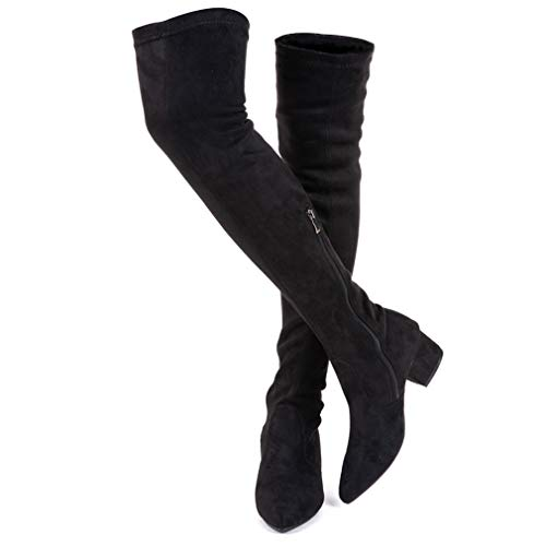 Women Boots Winter Over Knee Long Boots Fashion Boots Heels Autumn Quality Suede Comfort Square Heels US Size (7, Black 2 in)