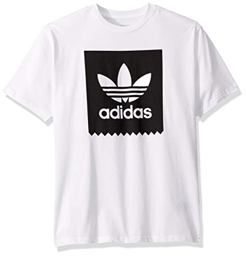 adidas Originals Men's Skate Solid Blackbird Tee, White/black, Small