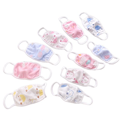 HEALIFTY 3Pcs Baby Cotton Mouth Masks Face Cover Mask for Against Dust, Pollen, Allergens and Flu Germs (Random)