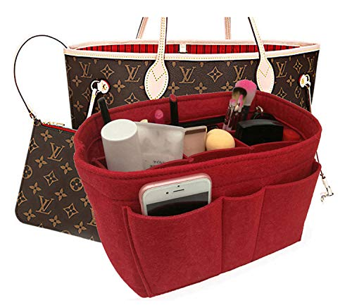 Felt Insert Bag Organizer Bag In Bag For Handbag Purse Organizer Fits Speedy Neverfull RED MEDIUM
