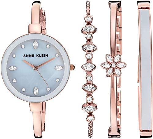 Anne Klein Women's AK/3352GYST Swarovski Crystal Accented Rose Gold-Tone Bangle Watch and Bangle Set