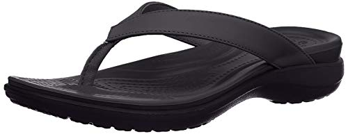 Crocs Women's Capri V Flip Flop, Black/Graphite, 7 M US