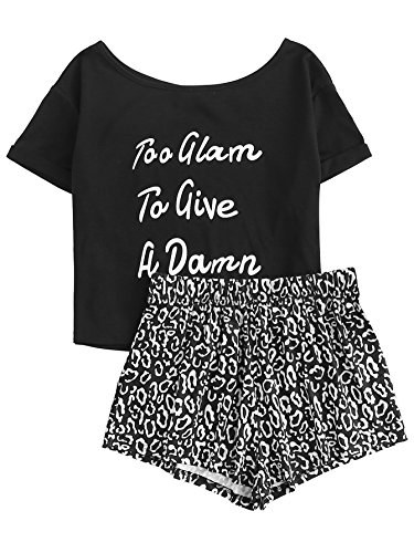 DIDK Women's Cute Cartoon Print Tee and Shorts Pajama Set Black Letter M
