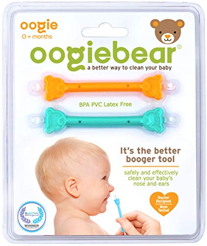 oogiebear - The Safe Baby Nasal Booger and Ear Cleaner - Baby Shower Gift and Registry Essential Snot Removal Tool - Two Pack - Orange and Seafoam