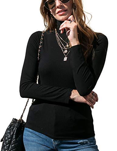 DOUBLJU Women's Long Sleeve Turtle Neck Rib Top with Plus Size Black X-Large