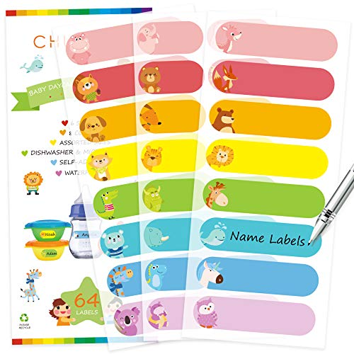 Baby Bottle Labels for Daycare, Self-Laminating, Waterproof Write-On Name Labels, Assorted Sizes & Colors, Pack of 64
