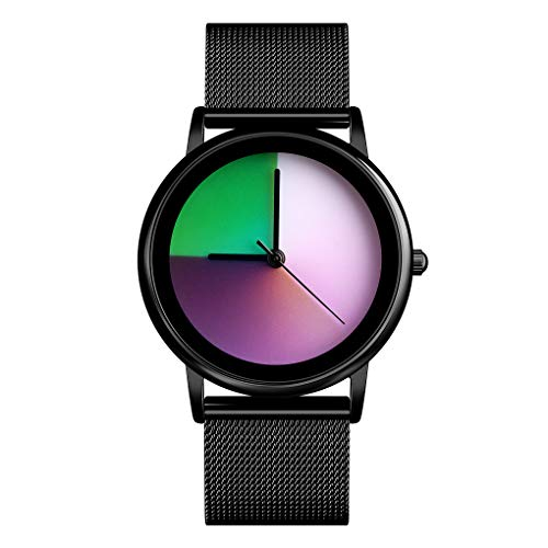 Womens Colorful Waterproof Wrist Watch - CakCity Unisex Stainless Steel Quartz Analog Watch Simple Fashion Rainbow Gradient Round Dial Gift Watches for Lady