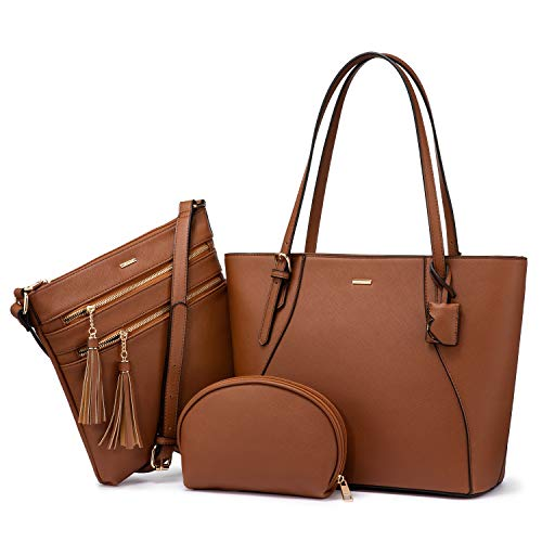 Handbags for Women Shoulder Bags Tote Satchel Hobo 3pcs Purse Set (Brown-1)
