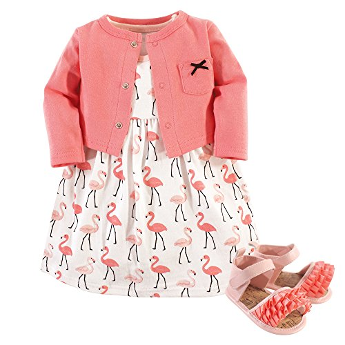 Hudson Baby Baby Girl Cotton Dress, Cardigan and Shoe Set, Flamingos, 0-3 Months