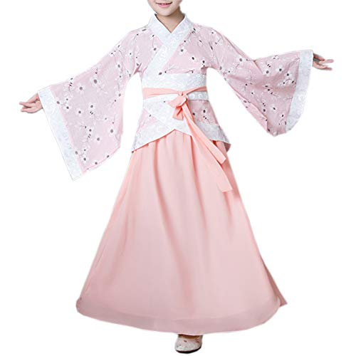 Girls Hanfu Child Ancient Chinese Traditional Cosplay Costumes Dress (110CM, Pink)