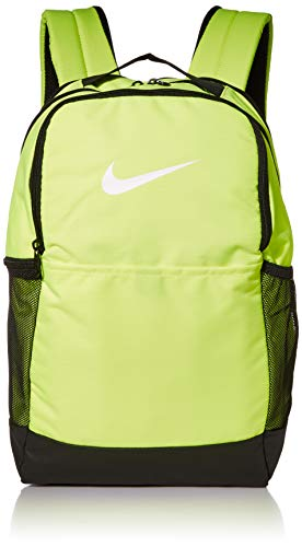 Nike Brasilia Medium Training Backpack, Nike Backpack for Women and Men with Secure Storage & Water Resistant Coating, Volt/Black/White