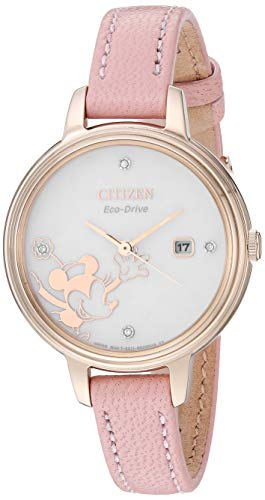 Citizen Women's Mickey Mouse & Friends Stainless Steel Quartz Leather Calfskin Strap, Pink, 10 Casual Watch (Model: EW2448-01W)