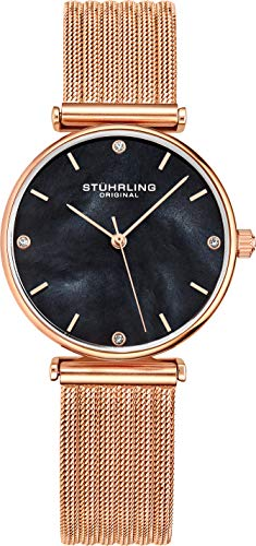 Stuhrling Original Womens Watch Mother of Pearl Analog Watch Dial, Silver Stainless Steel Braided Mesh 3927 Watches for Women Collection (Rose Gold/Black/Rosegold)