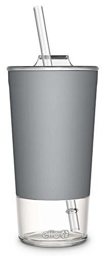 Ello Tidal Glass Tumbler with Straw, 20 oz, Grey