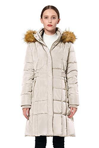 Orolay Women's Puffer Down Coat Winter Jacket with Faux Fur Trim Hood YRF8020Q Beige M
