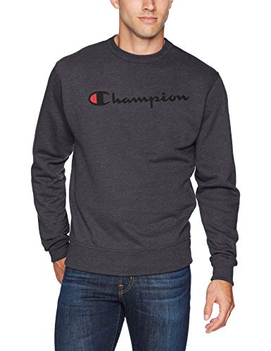 Champion Men's Graphic Powerblend Fleece Crew, Granite Heather Script, Medium