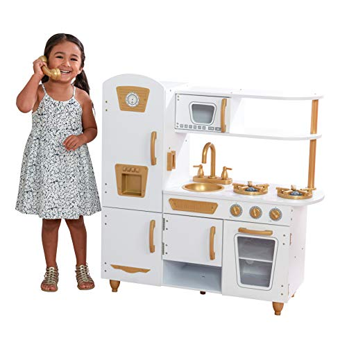 KidKraft Exclusive Edition Modern White Play Kitchen with Gold Accents & 27Piece Cookware Set
