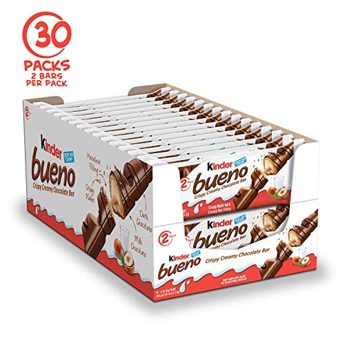 Kinder Bueno Milk Chocolate and Hazelnut Cream Candy Bar, 30 Packs, 2 Individually Wrapped Bars Per Pack, Perfect Valentine's Day Gifts for Kids
