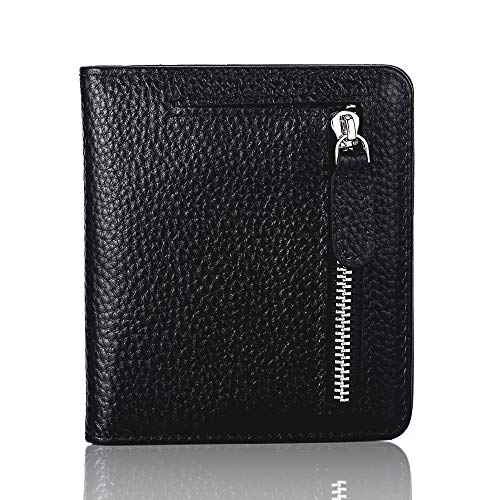 FUNTOR Leather Wallet for women, Ladies Small Compact Bifold Pocket RFID Blocking Wallet for Women, Black