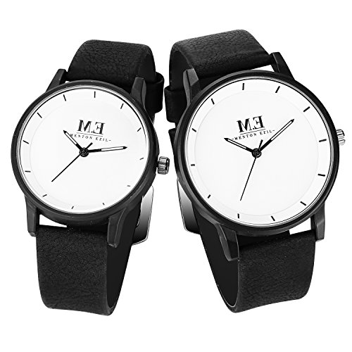 Menton Ezil Men's Sport Leather Strap Analog Quartz Waterproof Watches Auto Calendar Wrist Watch, Gift for Men (White | Black 2)