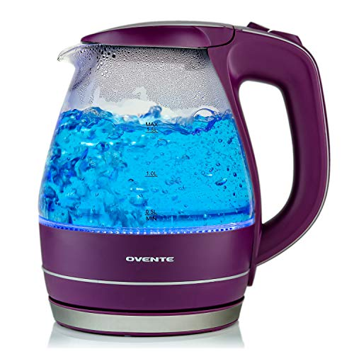OVENTE Electric Glass Kettle 1.5 Liter with Heat Tempered Borosilicate Glass, BPA-Free, 1100 Watts Fast Heating, Auto Shutoff and Boil Dry Protection, Purple (KG83P)