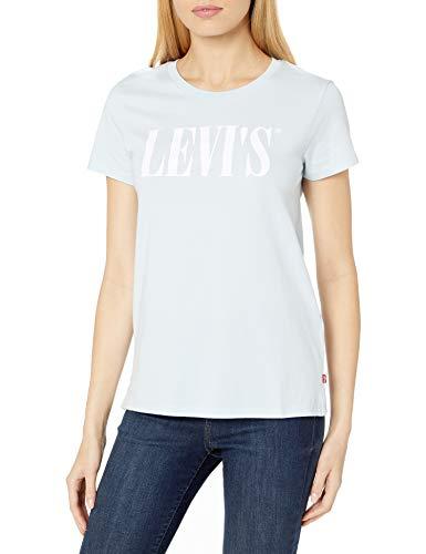 Levi's Women's Slim Crew Logo Tee Shirt, 90's Serif Baby Blue, X-Small