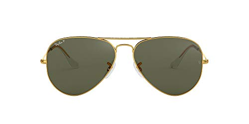 Ray-Ban RB3025 Aviator Polarized Sunglasses, Gold/Polarized Green, 58 mm