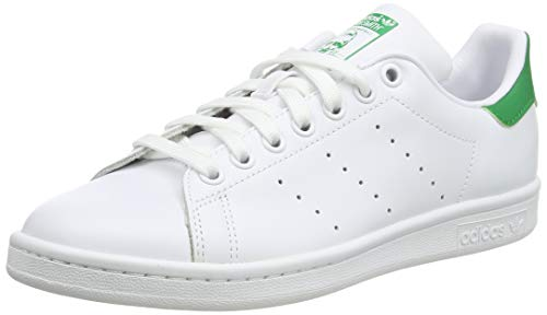 adidas Originals Men's Stan Smith Leather Sneaker, Footwear White/Core White/Green, 13.5