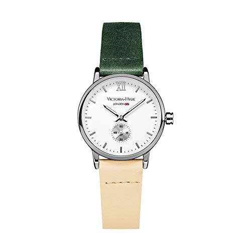 VICTORIA HYDE Retro Women Watches Small Dial Analog Quartz Detachable Genuine Leather Strap Ladies Wristwatch Green