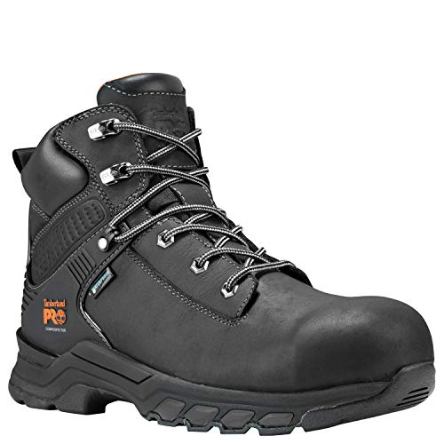 "Timberland PRO Men's Hypercharge 6"" Composite Toe Waterproof Industrial Boot, Black Full Grain Leather, 10 M US"
