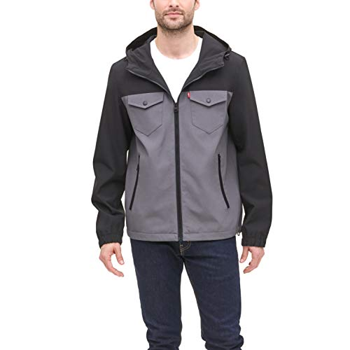 Levi's Men's Arctic Cloth Performance Hooded Rain Jacket, Charcoal/Black, Small