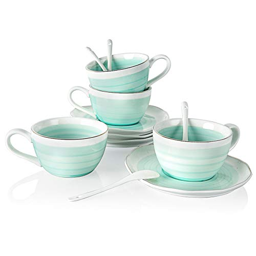 Sweejar Ceramic Tea Cup and Saucer Set(Blue3)