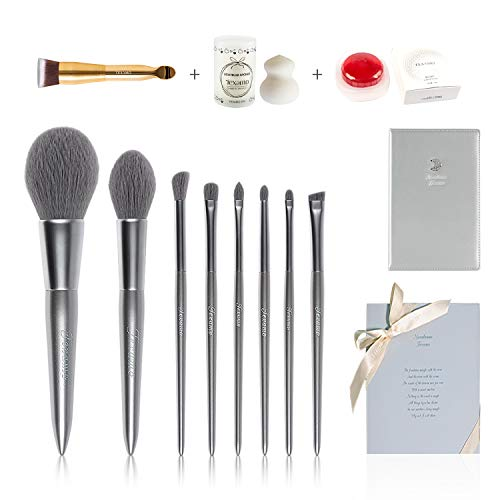 TEXAMO Makeup Brush Set Highend Quality Make Up Brushes 8Pcs, Premium Travel Moonlight Case, Good Cosmetics Storage Box, Blender Sponge & Clean Soap & Foundation Brush