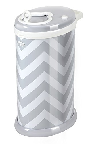 UBBI Steel Odor Locking, No Special Bag Required Money Saving, Awards-Winning, Modern Design Registry Must-Have Diaper Pail, Gray Chevron