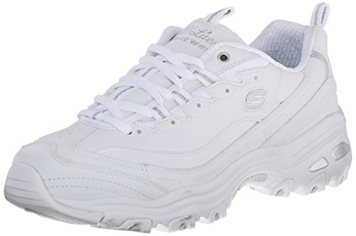 Skechers Sport womens D'LITES FRESH START Memory Foam Lace-up Sneaker,White Silver,8 M US
