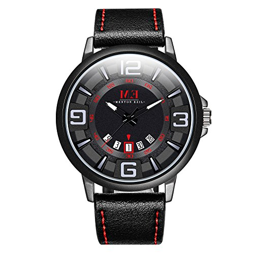 Menton Ezil Menfs Sport Leather Strap Analog Quartz Waterproof Watches Auto Calendar Wrist Watch, Gift for Men (Black)
