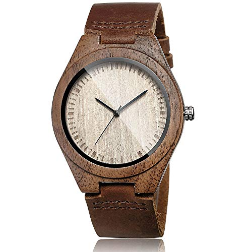 Cowhide Leather Strap Watch Wooden Case Analog Quartz Wristwatch