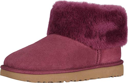 UGG Women's Classic Mini Fluff Ankle Boot, Bougainvillea, 5 M US