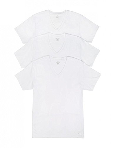 Calvin Klein Men's Cotton Classics Multipack V Neck T-Shirts, White, Medium - 3 Pack
