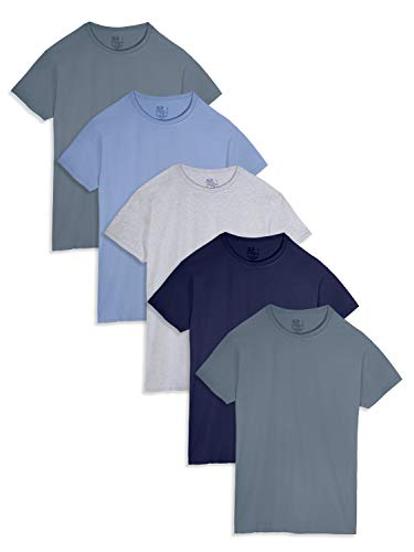 Fruit of the Loom Men's Crew Neck T-Shirt Multipack, Assorted (5 Pack), Large