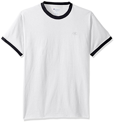 Champion Men's Classic Jersey Ringer Tee, White/Navy, S