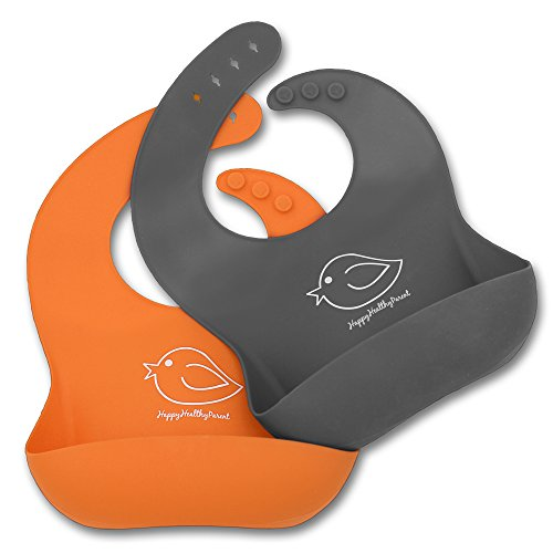 Silicone Baby Bibs Easily Wipe Clean - Comfortable Soft Waterproof Bib Keeps Stains Off, Set of 2 Colors (Orange/Gray)