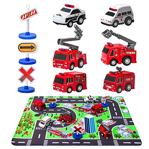 "Fire Truck Toys with Play Mat, 6 Fire Engines, 3 Road Signs, 14"" x 18"" Fire Rescue Playmat, Fires Vehicle Set, Mini Pull Back Car toys"